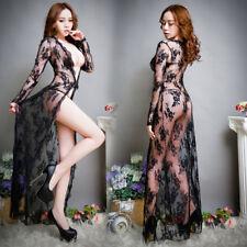 Women Sexy Lingerie Transparent G-string Lace Long Nightwear Gown Robe Sleepwear