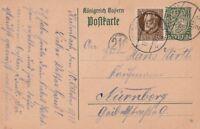 Postkarte verschickt von Kulmbach nach Nürnberg aus dem Jahr 1918