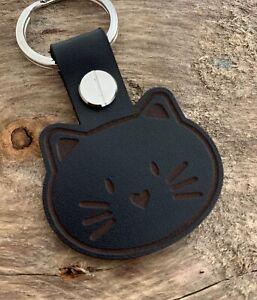 CAT FACE Kitty Kitten Breeder lover Leather Keyring Keychain Fob Gift Black