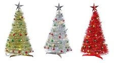 Pop Up Tinsel Table Tree - Complete with Lights and Baubles - Gold, Silver, Red