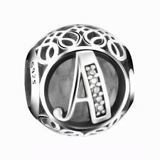 New Authentic Pandora Silver Charm Bead Vintage Letter A Clear CZ S925 Ale