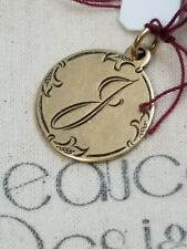 Beaucoup Designs Charm Made In USA Gold Tone J Monogram 2 sided coin 1887 NEW