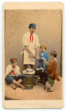 CDV Venice Man and children eating Hand-colored orignal photo Ponti 1870c S1090