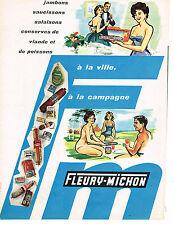 PUBLICITE ADVERTISING  1960   FLEURY-MICHON  jambon saucisson charcuterie