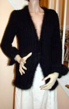 CHANEL 02A Black Angora Sweater Jacket Cardigan 40