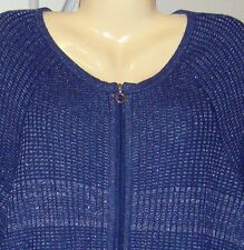 Alex Marie Sweater 3/4 Sleeves New with Tags Size 2X Blue w/Metallic Threads