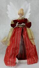 """Christmas Fiber Optic 16"""" Red & Gold Angel Includes UL Adapter Porcelain Head"""