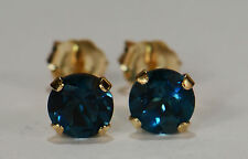 BEENJEWELED GENUINE NATURAL MINED LONDON BLUE TOPAZ EARRINGS~14 KT YLW GOLD~5MM