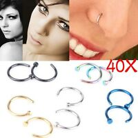 Wholesale 40pcs Bulk Multi Stainless Steel Nose Studs Ring Hoop Body Piercing LY