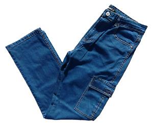 Jeans Uomo Cargo Estivo Elasticizzato Tasconi Regular Fit Tg.46/60