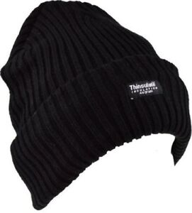Boys Black Thermal Thinsulate Chunky Knit Insulated Hat Childrens Winter Cold UK