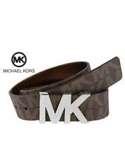 Michael Kors Signature Womens MK Silver Logo Belt Brown Size Medium Authentic