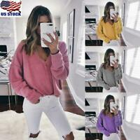 Women Long Sleeve Causal Tunic Tops Shirt Ladies Loose V Neck Pullover Blouse US