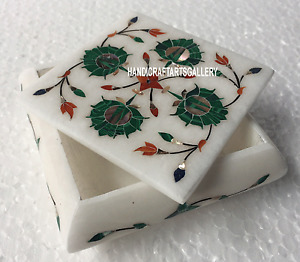 """4""""x4""""x2"""" White Marble Jewelry Box Malachite Floral Design Hand Carved Work H3517"""