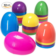 Easter gag gifts ebay jumbo assorted colors giant 7 inch un hinged plastic easter eggs 12 negle Gallery