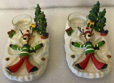 Yankee Candle (2) Reindeer making snow angels tea light holders
