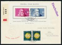 SCHWEIZ 1948, Block 13, auf portogerechtem Luxus-R-Brief, Mi. 110,-
