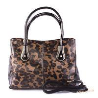 Ladies Designer Inspired Top Handle Black and Tan Animal Print P.U  Handbag