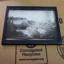 VINTAGE  BLACK AND WHITE MAGIC LANTERN GLASS SLIDE VIEW OF ANCIENT RUINS