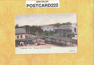 CT Middletown 1901-08 udb antique postcard PASSENGER DEPOT & BRIDGE CONN