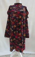 Atmosphere floral crepe feel frill trim cold shoulder long sleeve dress Size 14