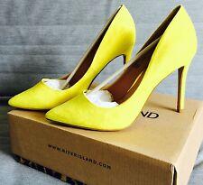 River Island Lemon Yellow Faux Suede Stiletto Court Shoes Size 6/39. New, Boxed.