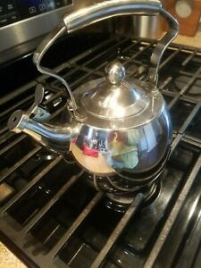 Palm Restaurant Stainless Steel Whistling Tea Kettle 2-Quart Induction Gas Elec.