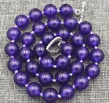 12mm Natural Purple Amethyst Gemstone Round Beads Necklace 18'' Tibetan silver