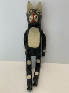"""Vintage Wooden Black Cat with Green eyes hinged joints 15"""""""