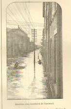 PROMENADE A NEW-YORK INONDATION DE CINCINNATI IMAGE 1885 OLD PRINT