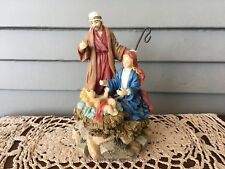 Wind Up Christmas Nativity Figurine Joseph Mary Jesus Music Away in a Manger