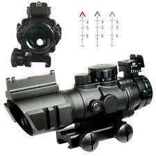 Tactical 4X32 Rifle Scope Fiber Optic Sight & illuminated Chevron Range Recticle