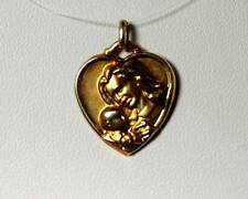 """10K Yellow Gold Mother & Child Heart Pendant 7/8"""" - 6869"""