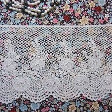 """Broderie Anglaise Embroidery Scalloped Cotton Lace Trim 15cm (5.9"""") Ivory 1yd"""