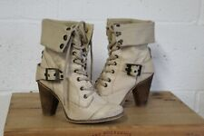 TAN LEATHER VICTORIAN STEAMPUNK STYLE ANKLE BOOTS 6 39 BY RIVER ISLAND USED CON