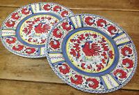 Portuguese Portugal 2 Dinner Plates Rooster POR 49 Bernarda? Red Majolica Blue