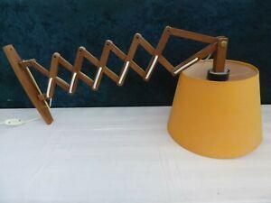 Teak Holz Scherenlampe Scherenleuchte Wand Lampe Vintage 70er Retro Wandleuchte