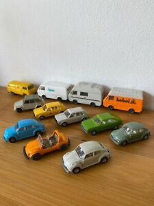 Vintage Wiking Germany HO 1/87 Gauge Models Volkswagen Beetle Campervan etc x12