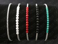 925 Sterling Silver Balls Bracelet Gemstones Mini Beads Semi Precious Stones