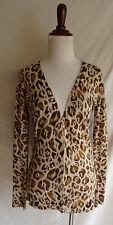Ann Taylor S Brown Wool Leopard Spot Animal Print Boyfriend Cardigan Sweater
