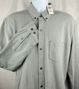 NWT LL Bean Mens L/S Button Down Shirt XL Tall Gray Knit Stretch Slightly Fitted