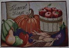 Tapestry Placemat~Harvest Farm~Fall Pumpkin~Corn~Autumn Apple~Thanksgiving~NEW