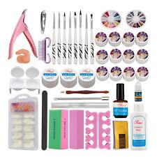 Nail Art DIY Set 12 Color UV Builder Gel Brush Pen Nail Tips Top Coat Full Tool