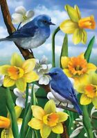 """Bluebirds and Daffodils Spring House Flag Floral 28"""" x 40"""""""
