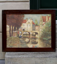 Antique French Impressionist watercolor. Fishers on the banks at Moret. 1880s.