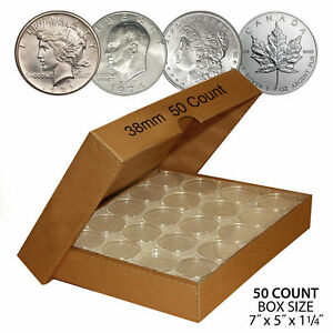 50 MORGAN DOLLAR Direct-Fit Airtight 38mm Coin Capsule Holder (QTY: 50) with BOX