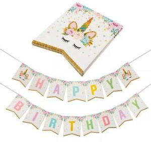 Unicorn Happy Birthday Banner Gold Bunting Garland Flag  Party Ware Decoration