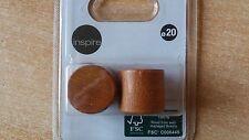 2 embouts tringle rideau,cylindrique ,bois merisier , diam 20 mm