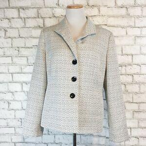 Kasper Women's Classy Beautiful Silver & Black Lined Jacket Blazer Size 14