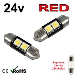 2 x Red 24v 31mm Festoon Interior Plate Light 256 2 SMD SV7-8 Bulbs HGV Truck